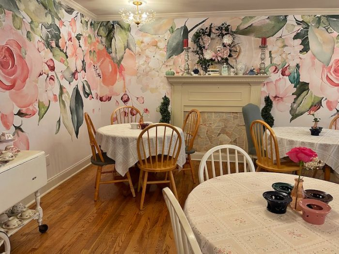 The Garden Room at afternoon tea at The Book & Bee Cafe & Tea in Hendersonville
