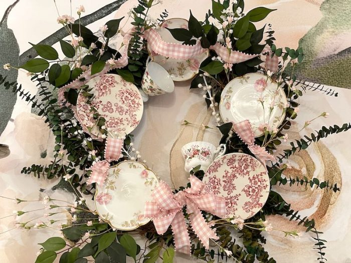 teacup wreath at afternoon tea at The Book & Bee Cafe & Tea in Hendersonville